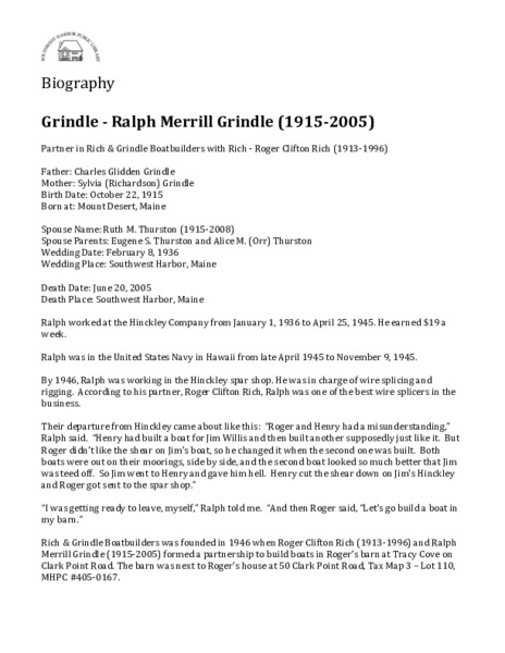 Grindle - Ralph Merrill Grindle (1915-2005)
